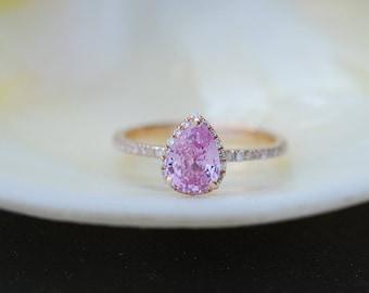 Pear Engagement Ring Raspberry Peach Sapphire Engagement Ring 14k Rose Gold 1.25ct, Pear Peach Sapphire Ring. Engagement ring Eidelprecious