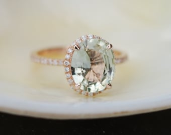 Sparkling Jasmine Green sapphire ring. 2.43ct oval sapphire ring. 14k rose gold engagement ring by Eidelprecious