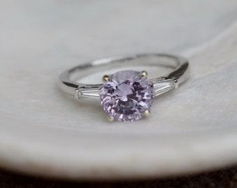 2.03ct Lilac Sapphire White Gold Diamond Ring. Engagement Ring. Baguette Diamond Engagement Ring by Eidelprecious