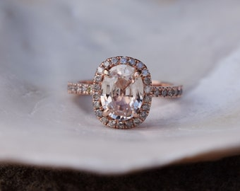 Ice champagne sapphire ring 14k rose gold diamond ring engagement ring 2.15ct Cushion ice peach sapphire. Engagement ring by Eidelprecious