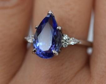 Tanzanite Ring. White Gold Engagement Ring 3.3ct Lavender Blue Tanzanite pear cut Campari design by Eidelprecious.