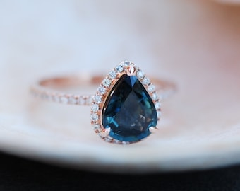 Rose Gold Engagement Ring Peacock Blue Green Sapphire 2.5ct pear cut halo engagement ring 14k rose gold ring Eidelprecious