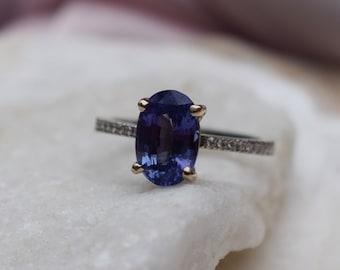 Indigo blue sapphire ring. Blue purple sapphire engagement ring. Oval diamond ring. Blake ring. White gold engagement ring by Eidelprecious