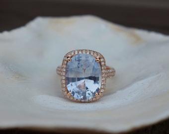 Arctic Blue sapphire engagement ring. 8.4ct cushion sapphire diamond. 14k Rose gold ring. Engagement rings by Eidelprecious.