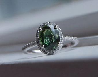 Forest Green Sapphire engagement ring. Diamond Ring 14k white gold ring. Halo engagement ring. Deep green sapphire ring by Eidelprecious