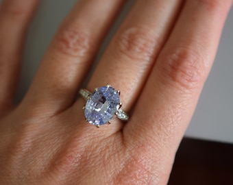 One of a kind Engagement Ring. Light Grey Blue Sapphire Ring. 14k White Gold 5.5ct sapphire engagement ring by Eidelpresious