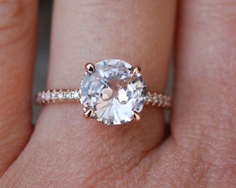 Rose gold engagement ring. Round Peach sapphire diamond ring. 14k rose gold round sapphire ring no halo. Engagement rings by Eidelprecious.