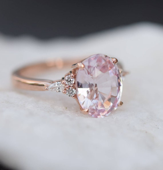 Blush Sapphire Engagement Ring Light Peach Pink Sapphire Etsy