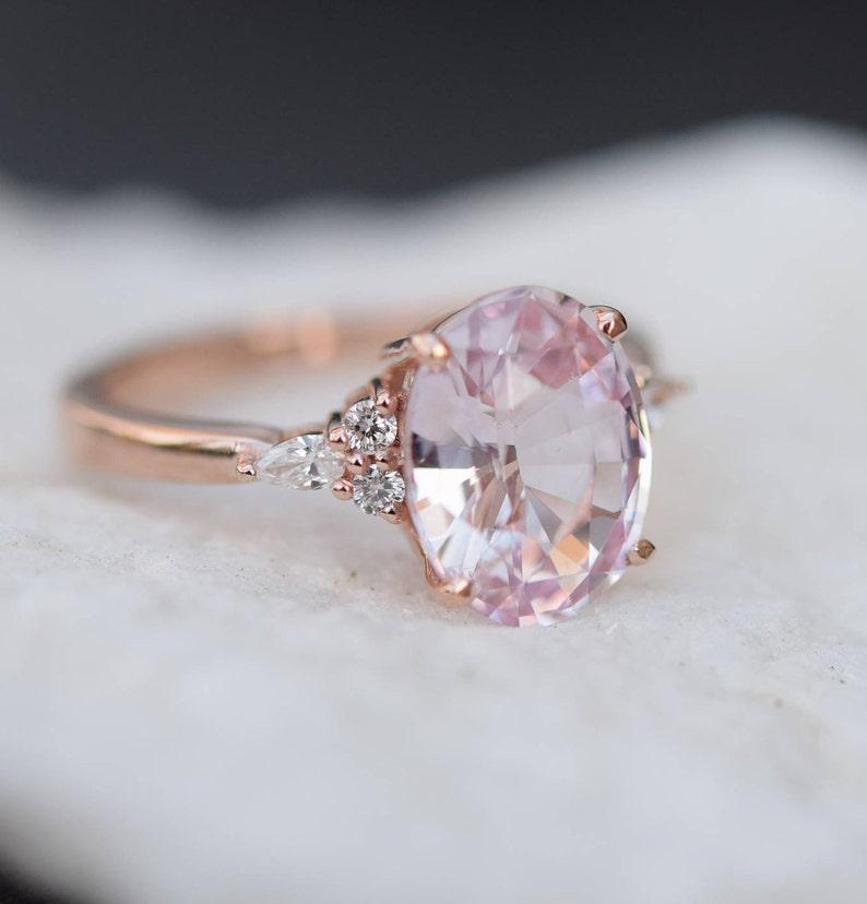 d8048a0f6c28 Blush sapphire engagement ring. Light peach pink sapphire