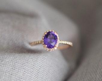 Purple Plum sapphire engagement ring. Rose gold ring. 14k engagement ring 2ct oval sapphire lavender sapphire ring by Eidelprecious