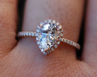 Rose gold ring Pear Sapphire 2.4ct white sapphire diamond ring 14k rose gold. Engagement ring by Eidelprecious