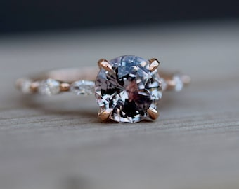 Moody engagement ring. Rose Gold Engagement Ring. Sapphire engagement ring. One of a kind ring Sapphire round Engagement ring