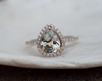 Rose gold ring Pear Sapphire 1.73ct smokey white sapphire diamond ring 14k rose gold. Engagement ring by Eidelprecious