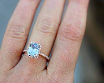 PLAT-Emerald cut engagement ring. Aqua blue sapphire engagement ring. Radiant emerald cut blue sapphire ring diamond ring 14k Rose gold ring