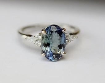 Teal tanzanite engagement ring. Peacock green tanzanite 3.4ct oval diamond ring 14k white gold. Campari Engagement ring by  Eidelprecious.