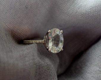 Platinum engagement ring. Blake Lively engagement ring. White Sapphire Engagement Ring Oval engagement ring. 5.4ct sapphire ring