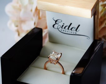 Champagne sapphire engagement ring 6.5ct emerald cut champagne sapphire light yellow sapphire ring by Eidelprecious