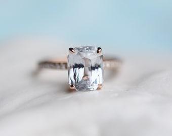 White Sapphire Engagement Ring Radiant cut white sapphire ring 14k rose gold diamond ring 3.7ct sapphire ring Blake design by Eidelprecious
