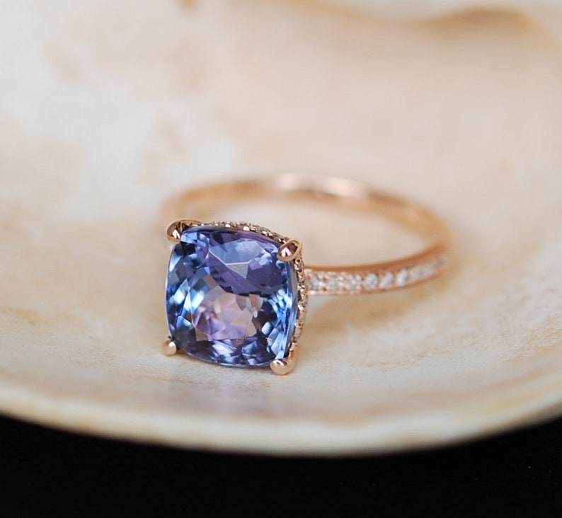 Tanzanite Ring Rose Gold Engagement Ring Lavender Blue Etsy