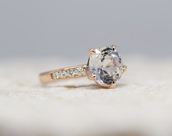 One of a kind Engagement Ring. White Sapphire Ring. 5 prong ring. 14k Rose Gold 3.16ct Round sapphire engagement ring by Eidelpresious