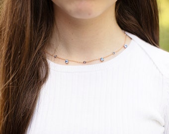 Rose gold necklace Blue sapphire necklace Cornflower sapphire Bezel Set necklace Bubble necklace Matching Necklace Chain by Eidelprecious