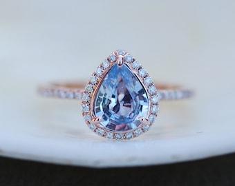 Medium Blue Sapphire Engagement Ring Blue sapphire 14k Rose Gold Diamond ring Pear Sapphire Ring