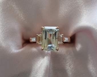 Smokey Ice Sapphire Engagement Ring. Rose gold diamond ring. Emerald cut. Radiant cut. Tapered diamond ring Ice collection by Eidelprecious