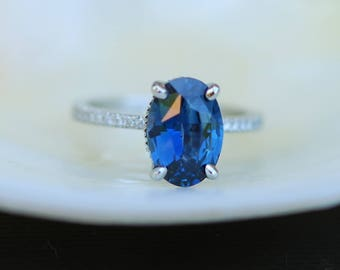 Blake Lively Ring Navy Blue sapphire ring 14k white gold diamond ring 2.2ct navy blue sapphire ring by Eidelprecious