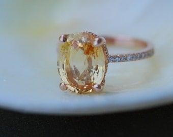 Engagement Ring. Orange yellow sapphire ring. 5ct Oval Sapphire ring. 18k rose gold diamond ring Golden Honey sapphire ring by Eidelprecious