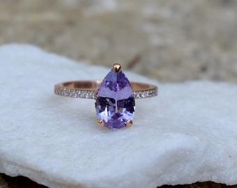 Purple Rain Sapphire Engagement Ring. 14k Rose Gold 2ct, Pear Cut Purple Sapphire Ring. Engagement ring by Eidelprecious