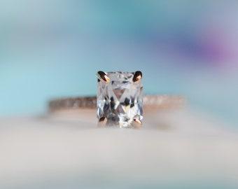 White Sapphire Engagement Ring Radiant cut white sapphire ring 14k rose gold diamond ring 2.06ct sapphire ring Blake design by Eidelprecious