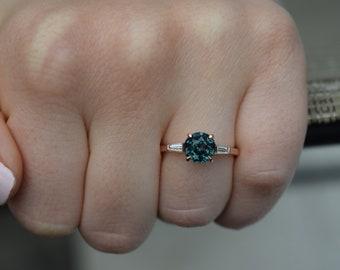 Teal sapphire Engagement Ring. Rose gold engagement ring. 2ct Blue Gleen Sapphire ring. Round cut sapphire 14k RG baguette diamond ring.