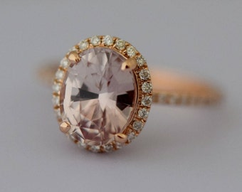 Smokey Peach Sapphire Engagement Ring 14k Rose Gold Diamond Engagement Ring 2.4ct Oval engagement ring Engagement ring by Eidelprecious