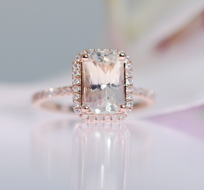 c6275966f5070 GIA Champagne sapphire engagement ring 18k rose gold 5ct emerald cut  champagne sapphire light yellow sapphire ring by Eidelprecious