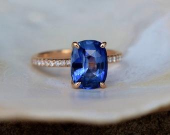 Cornflower blue sapphire ring. Cushion blue sapphire ring 2.8ct cushion sapphire diamond  ring 14k Rose gold ring. Blake ring Eidelprecious