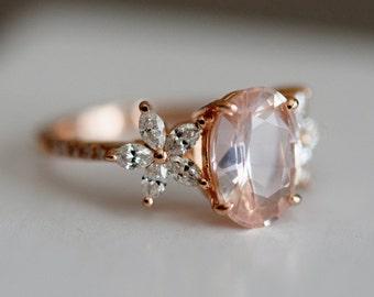 Fiji engagement ring by Eidelprecious. Oval Peach sapphire diamond ring. Fiji design. 14k rose gold ring. Engagement ring by Eidelprecious