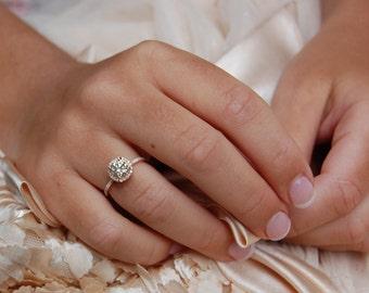 Rose gold engagement ring 0.9ct  Light pink diamond ring 14k rose gold VS2 diamond ring by Eidelprecious