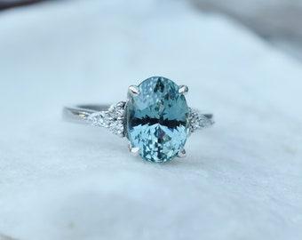 Lagoon sapphire engagement ring. Blue green sapphire 4ct oval diamond Campari ring Platinum ring by Eidelprecious