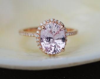 Ice Peach Sapphire Ring Rose Gold Engagement Ring 3.06ct oval 14k rose gold diamond ring. Engagement rings by Eidelprecious.