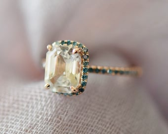 Emerald cut engagement ring. Champagne sapphire ring. 14k Rose Gold Engagement Ring Blue diamond ring. Engagement ring by Eidelprecious.