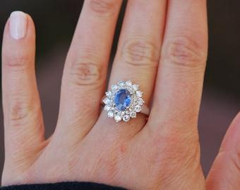 Sapphire Engagement Ring Blue sapphire 18k White Gold Diamond ring Oval Sapphire Ring