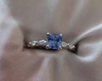 Cornflower Blue sapphire engagement ring. Godivah ring White Gold Engagement Ring. One of a kind ring. Sapphire Emerald ring Eidelprecious