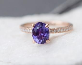 Purple Plum sapphire engagement ring. Rose gold ring. 14k engagement ring 1.58ct oval sapphire lavender sapphire ring by Eidelprecious