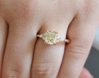 Yellow diamond ring. Champagne diamond ring. Engagement ring. Rose gold engagement ring. Radiant cut diamond ring. Campari by Eidelprecious
