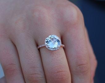 Round Engagement Ring. 3ct White Sapphire diamond ring 14k rose gold ring engagement ring by Eidelprecious