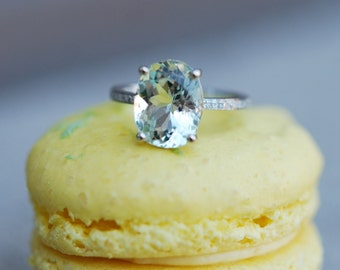 Blue Green Aquamarine Engagement Ring oval cut 14k white gold diamond ring 2ct Jasmine green