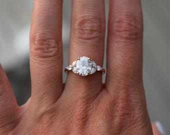 Trillium Moissanite engagement ring. Oval engagement ring. Rose Gold Engagement Ring. Diamond ring by Eidelprecious