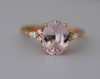 Engagement Ring. 3.15ct Peach champagne sapphire ring. Rose gold engagement ring Campari ring oval ring Sapphire ring by Eidelprecious