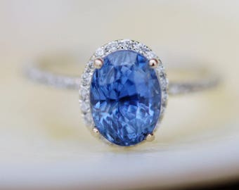 Sapphire engagement ring. Blue sapphire engagement ring. 3.5ct Oval Cornflower blue sapphire diamond ring 14k white gold engagement