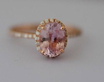 Peach Sapphire Engagement Ring 14k Rose Gold Diamond Engagement Ring 2.4ct Oval engagement ring Engagement ring by Eidelprecious